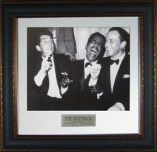 Rat Pack unsigned 11X14 Vintage B&W Photo Leather Framed w/ Frank Sinatra, Dean Martin & Sammy Davis, Jr (movie/entertainment)