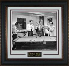Rat Pack unsigned 16x20 B&W Photo Leather Framed Frank Sinatra, Dean Martin, Sammy Davis, Jr, Peter Lawford movie/entertainment