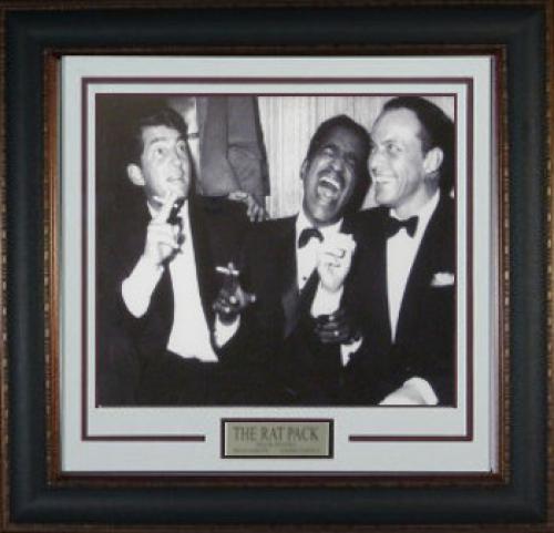 Rat Pack unsigned 16x20 Vintage B&W Photo Leather Framed w/ Frank Sinatra, Dean Martin & Sammy Davis, Jr (movie/entertainment)