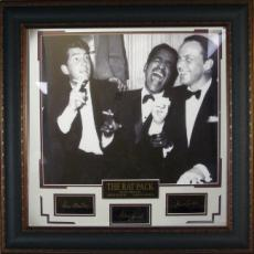 Rat Pack unsigned 16x20 Vintage B&W Photo Signature Series Leather Framed w/ Sinatra, Martin & Davis, Jr (movie/entertainment)