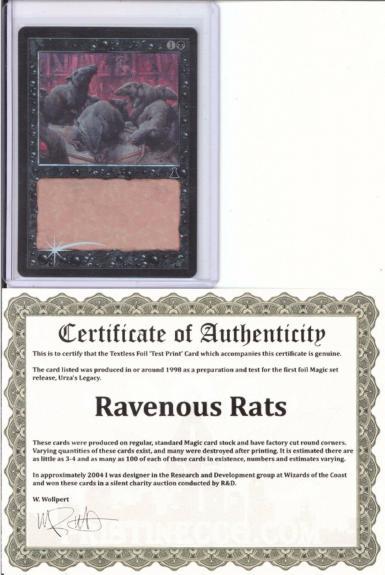 Ravenous Rats Textless  Foil *test Print*mtg Magic The Gathering Coa From Wotc