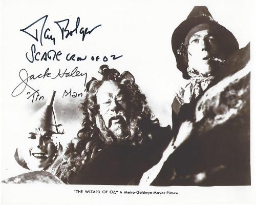 "RAY BOLGER as HUNK/THE SCARECROW and JACK HALEY as HICKORY/THE TIN MAN in the 1939 Movie Classic ""THE WIZARD of OZ"" (RAY Passed Away 1987 and JACK in 1979) Signed 10x8 B/W Photo"