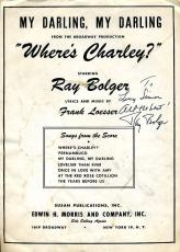 Ray Bolger Psa/dna Authentic Signed Wheres Charley Sheet Music Autograph