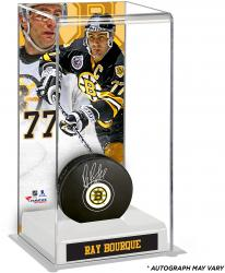 Ray Bourque Boston Bruins Autographed Puck with Deluxe Tall Hockey Puck Case