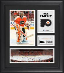 """Ray Emery Philadelphia Flyers Framed 15"""" x 17"""" Collage with Piece of Game-Used Puck"""