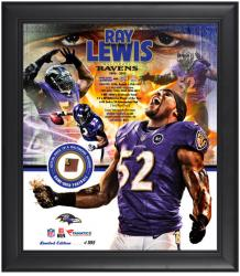 Ray Lewis Baltimore Ravens Retirement Framed Collage with Game-Used Football-Limited Edition of 552 - Mounted Memories