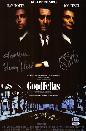 "Ray Liotta & Henry Hill Autographed 12"" x 18"" Goodfellas Movie Poster - BAS COA"