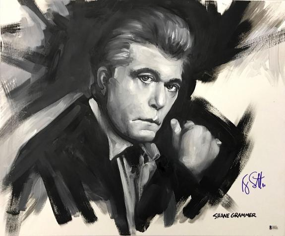 RAY LIOTTA SIGNED GOODFELLAS 20x24 PAINTED CANVAS AUTOGRAPHED BAS BECKETT COA