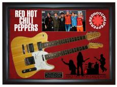 Red Hot Chili Peppers Signed 2xneck Guitar + Display Shadowbox Case PSA AFTAL