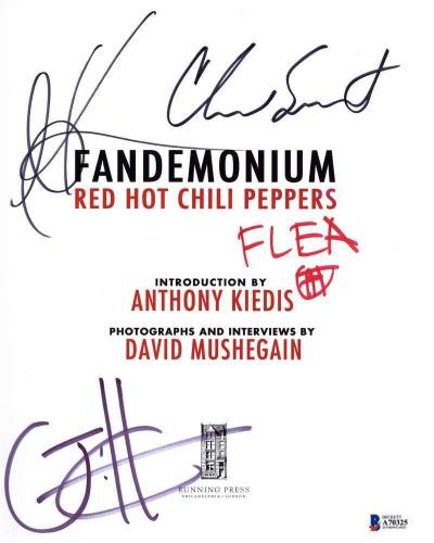 Red Hot Chili Peppers Signed Fandemonium Book Flea +3 Beckett BAS