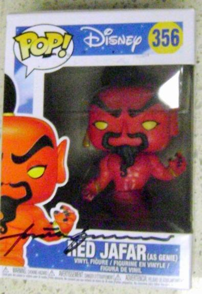 Red Jafar autographed by Jonathan Freeman Funko Pop toy figure on box Disney Aladdin Genie