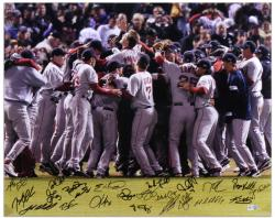 Boston Red Sox 2007 World Series Celebration Team Signed 16'' x 20'' Photograph with 22 Signatures