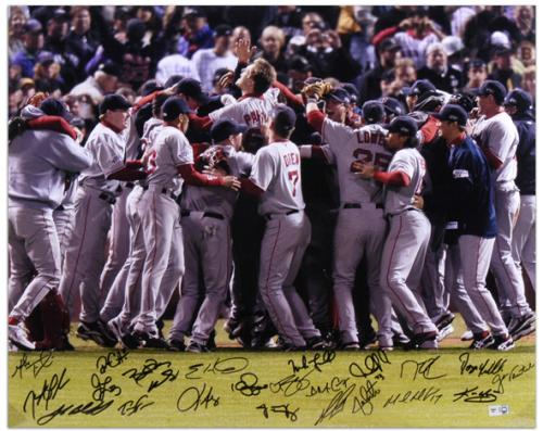 """Boston Red Sox 2007 World Series Celebration Team Signed 16"""" x 20"""" Photograph with 22 Signatures"""