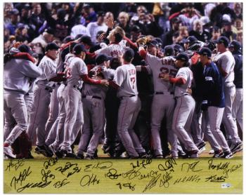 "Boston Red Sox 2007 World Series Celebration Team Signed 16"" x 20"" Photograph with 22 Signatures"