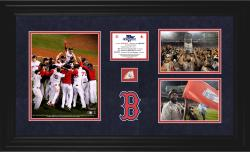 Boston Red Sox 2013 MLB World Series Champions Framed 3-Photograph Collectible with Game-Used Baseball
