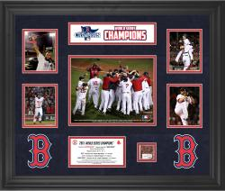 Boston Red Sox 2013 MLB World Series Champions 5-Photograph Collectible with Game-Used Dirt - Mounted Memories