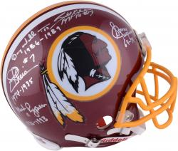 Washington Redskins Quarterbacks Autographed Authentic Helmet - Theismann, Williams, Jurgensen, Kilmer, Rypien