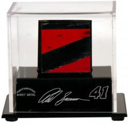 Reed Sorenson Display Case with Race-Used Sheet Metal - Mounted Memories