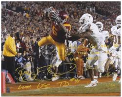 "Reggie Bush and Michael Huff - National Championship Dual Autographed 16"" x 20"" Photograph with 2 Inscriptions"