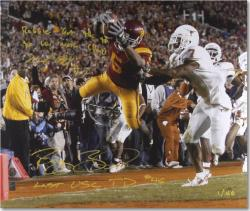 "Reggie Bush and Michael Huff National Championship Dual Autographed 20"" x 30"" Photograph with 2 Inscriptions - Mounted Memories"