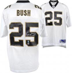 Reggie Bush Autographed Jersey - White Reebok Mounted Memories