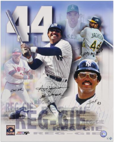 "Reggie Jackson Autographed 16"" x 20"" Photograph Collage with Four Inscriptions - Mounted Memories"