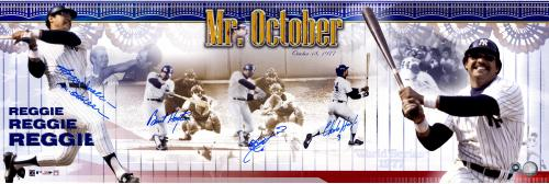 Reggie Jackson New York Yankees 1977 World Series Three Home Run Autographed Panoramic Photograph - Mounted Memories