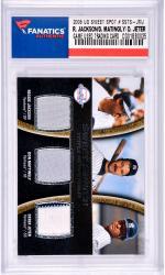 Reggie Jackson / Don Mattingly / Derek Jeter New York Yankees 2008 Upper Deck Sweet Spot #TS-JMJ Card Featuring Pieces of Game Worn Jersey From Don Mattingly, Reggie Jackson, and Derek Jeter