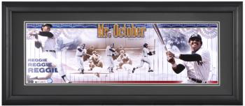 Reggie Jackson New York Yankees Framed Unsigned Panoramic Photograph with Suede Matte