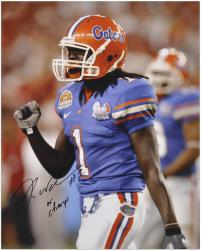 "Reggie Nelson Florida Gators Autographed 16"" x 20"" Photograph with '08 Champs' Inscription - Mounted Memories"