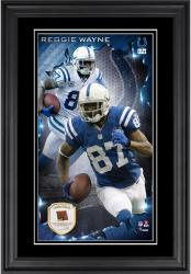 Reggie Wayne Indianapolis Colts 10'' x 18'' Vertical Framed Autograph with Piece of Game-Used Football - Limited Edition of 250