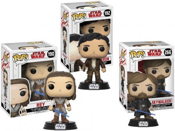 Rey, Luke Skywalker & Poe Star Wars Funko Pop! Bundle