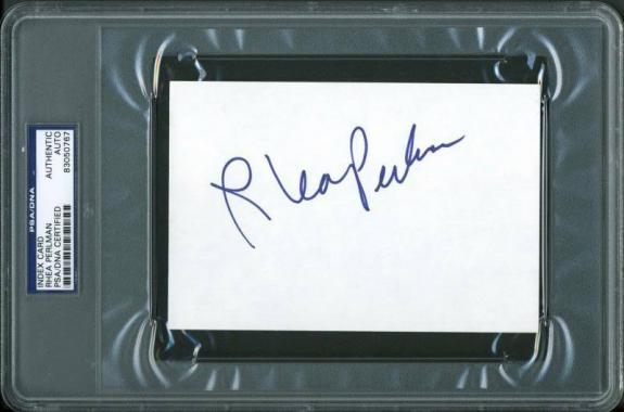 Rhea Perlman Signed 4X6 Index Card Autographed PSA/DNA Slabbed 1