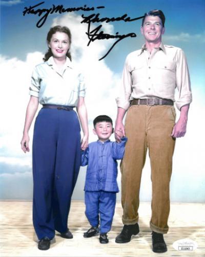 Rhonda Fleming signed Hong Kong Vintage Color 8x10 Photo Happy Memories- JSA #II11043 (w/ Ronald Reagan)