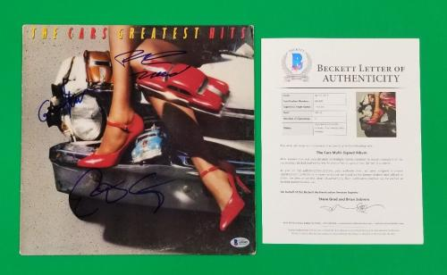 Ric Ocasek E. Easton G. Hawkes Signed X3 The Cars Greatest Hits Album + Bas Coa