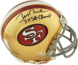 Jerry Rice San Francisco 49ers Autographed Riddell Mini Helmet with 3X SB Champ Inscription - Mounted Memories