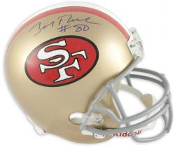 Jerry Rice San Francisco 49ers Autographed Riddell Replica Throwback Helmet - Mounted Memories