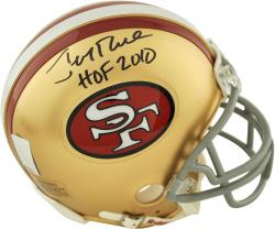 Jerry Rice San Francisco 49ers Autographed Riddell Mini Helmet with HOF 2010 Inscription - Mounted Memories