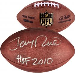 Jerry Rice San Francisco 49ers Autographed Wilson Pro Football with HOF 2010 Inscription - Mounted Memories