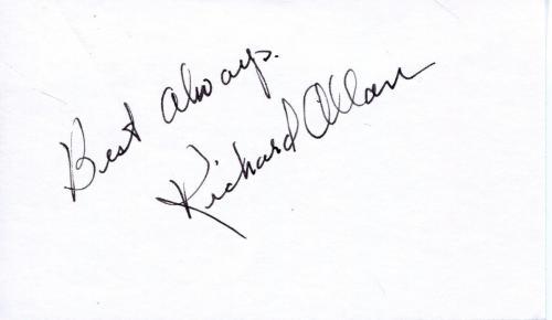 Richard Allan Actor In Niagara With Marilyn Monroe Signed Card Autograph