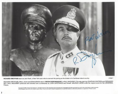 "RICHARD DREYFUSS as JACK NOAH in 1988 Movie ""MOON OVER ""PARADOR"" Signed 10x8 B/W Photo"