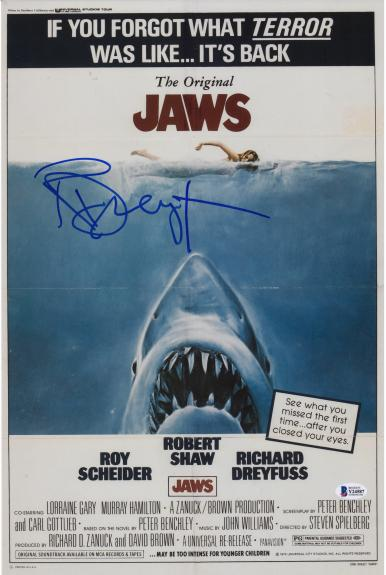 """Richard Dreyfuss Jaws Autographed 11"""" x 17"""" Movie Poster"""