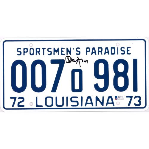 Richard Dreyfuss Jaws Autographed Sportsmen's Paradise Louisiana License Plate - BAS