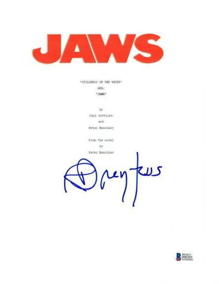 Richard Dreyfuss Signed Jaws Script Authentic Autograph Beckett Witness Coa