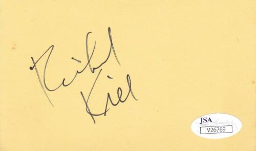RICHARD KIEL d. 2014 Signed 3x5 Index Card Actor/James Bond Movies JSA V26769