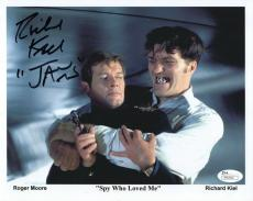 RICHARD KIEL HAND SIGNED 8x10 COLOR PHOTO    JAWS WITH ROGER MOORE 007      JSA