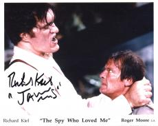 RICHARD KIEL HAND SIGNED 8x10 COLOR PHOTO+COA    ROGER MOORE   JAWS   JAMES BOND