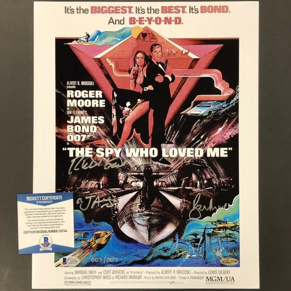 Richard Kiel ROGER MOORE signed James Bond 11x14 Movie Poster #007/007 ~ BAS COA