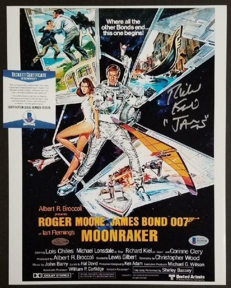 "Richard Kiel signed ""Jaws"" 11x14 Moonraker Movie Poster #1 ~ Beckett BAS COA"