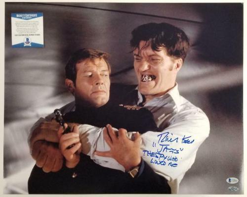 """Richard Kiel signed """"Jaws"""" 16x20 Photo The Spy Who Loved Me Inscription~ BAS COA"""